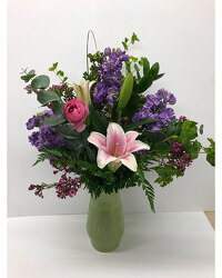 Premium Flowers in Celery Colored Vase from Blythe Flowers in Ottawa, IL