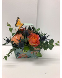 Keepsake Metal Container with Peach Flowers from Blythe Flowers in Ottawa, IL