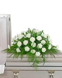 White Divinity Casket Spray from Blythe Flowers in Ottawa, IL
