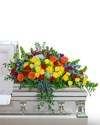 Vibrant Life Casket Spray from Blythe Flowers in Ottawa, IL