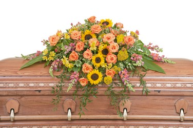 Heaven's Sunset Casket Spray from Blythe Flowers in Ottawa, IL