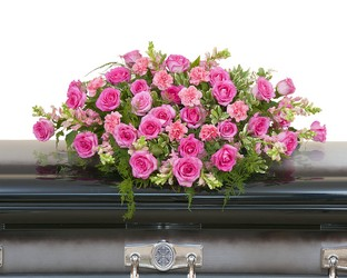 Peaceful Pink Casket Spray from Blythe Flowers in Ottawa, IL