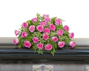 Pink Rose Casket Spray from Blythe Flowers in Ottawa, IL